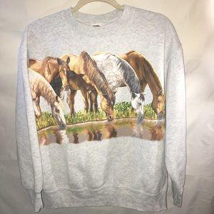 Vintage grey horse graphic crewneck sweatshirt L